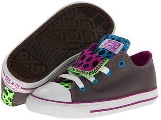 Converse Chuck Taylor All Star Double Tongue Ox (Infant/Toddler) (Charcoal/Multi) - Footwear