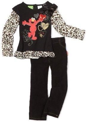 Sesame Street Toddler Girls Elmo Leopard Print 2 Piece Pant Set