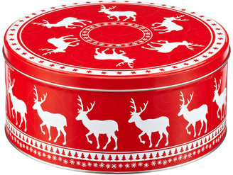 Container Store Large Round Deer Tin Red/White