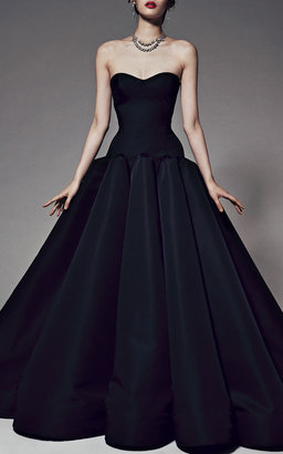 Zac Posen Box-Pleated Silk-Faille Gown in Black