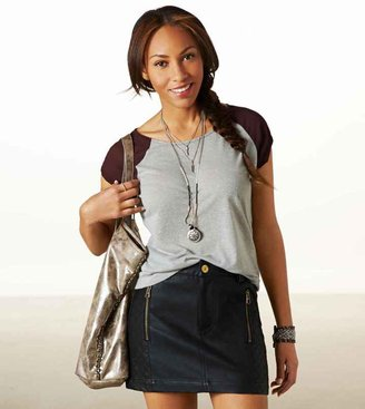 American Eagle AE Quilted Vegan Leather Mini Skirt