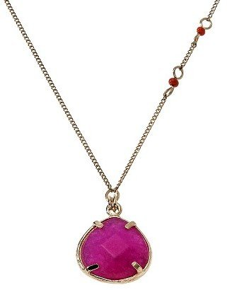 """Sequin Women's Long Faceted Pendant Chain Necklace with Simulated Pearls - Gold/Pink (39"""")"""