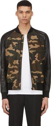 Camo Ami Khaki Green & Leather Bomber Jacket