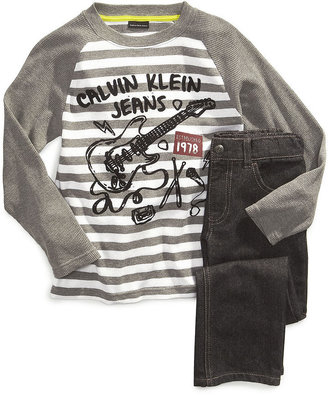 Calvin Klein Jeans Set, Little Boys Stripe Tee and Denim Set