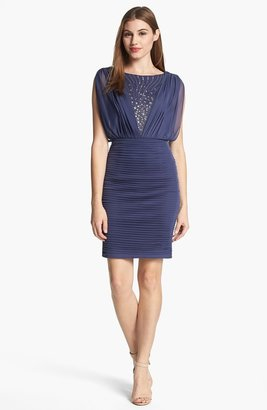 Adrianna Papell Embellished Pleated Blouson Dress