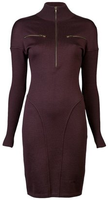 Alaia Vintage high standing collar sweater dress