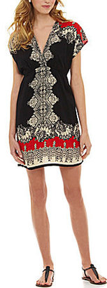 Angie V-Neck Printed Boho Peasant Dress