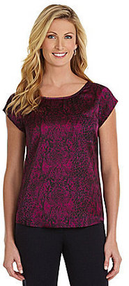 Investments Cap-Sleeve Python-Print top