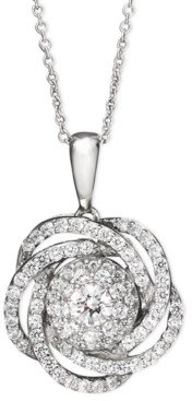 Wrapped in Love Diamond Knot Pendant Necklace in 14k White Gold (1 ct. t.w.), Created for Macy's