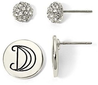 JCPenney Silver-Tone Initial D & Crystal 2-pr. Stud Earring Set