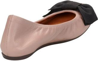 Lanvin Bow-Toe Lambskin Ballerina Flat, Nude