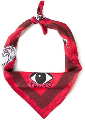Kenzo tiger and eye print scarf