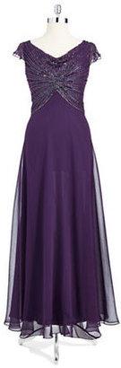 J Kara Beaded Cowl Neck Gown