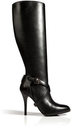 Ralph Lauren Leather Concord High Heel Boots in Black
