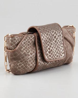 Kooba Metallic Snake-Embossed Clutch Bag