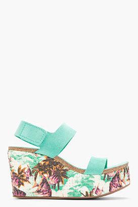 Pedro Garcia Turquoise Suede Floral Dakota Wedge Sandals