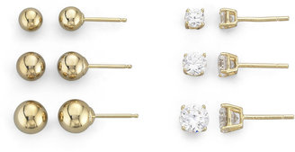 FINE JEWELRY 18K/Silver 6-Pair Stud Earring Set $149.98 thestylecure.com