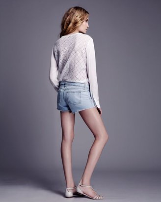 Equipment Floral Lace Silk Pullover