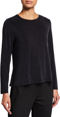 Eileen Fisher Long-Sleeve Sandwashed Cupro Knit Top
