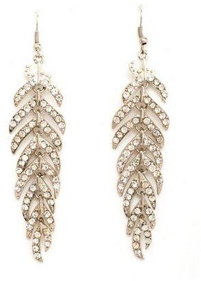 Charlotte Russe Rhinestone Leaf Dangle Earrings