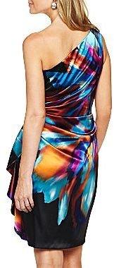 JCPenney One-Shoulder Cascade Print Dress