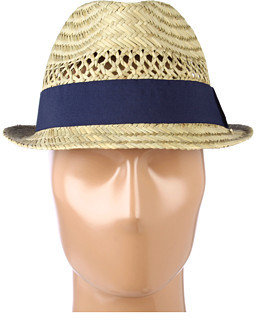 Hat Attack Seagrass Open Weave Fedora W/Navy Ribbon Trim