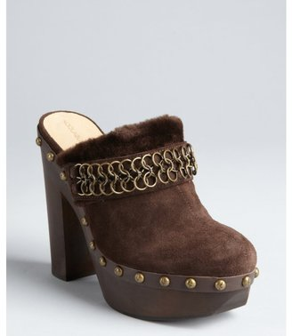 Koolaburra chocolate suede 'Farrah' platform clogs