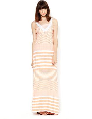Design History Braided Sleeve Striped Maxi Dress