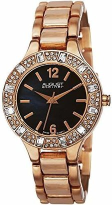 August Steiner Women's AS8135RGBU Swarovski Crystal-Accented Rose Gold-Tone Bracelet Watch