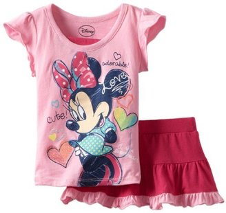 Disney Girls 2-6X Minnie 2 Piece Knit Pullover and Skirt with Attached Short