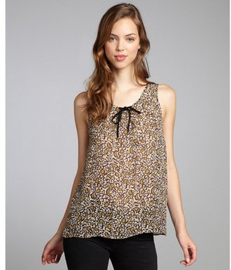 Marc by Marc Jacobs taupe printed silk blend sleeveless 'Cordosa' blouse