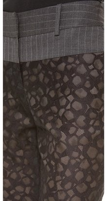 Vera Wang Collection Lace Trousers with Pinstripe Yoke