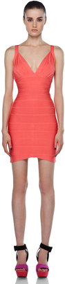 Herve Leger Bodycon Tank Dress in Pink Coral