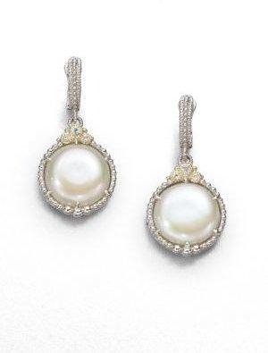 Judith Ripka Laguna White Coin Pearl & Sterling Silver Drop Earrings