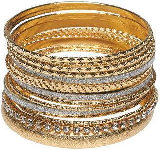 Wet Seal Glitter & Gold Bangle Set