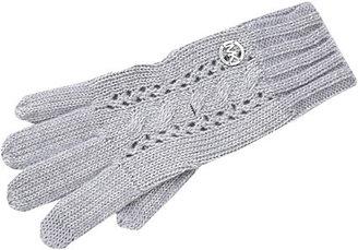 MICHAEL Michael Kors Michael Kors Lurex Open Work Cable Glove W/Tech Finger