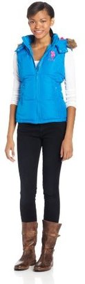 U.S. Polo Assn. Juniors Solid Vest with Faux Fur Trimmed Hood