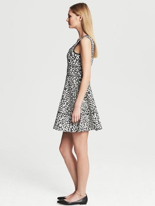 Banana Republic Leopard Jacquard Fit-and-Flare Dress