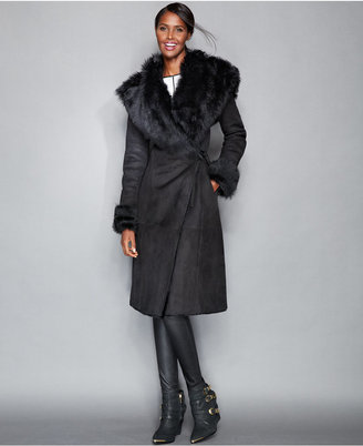 The Fur Vault Toscana Shearling Hooded Wrap Coat $3,995 thestylecure.com