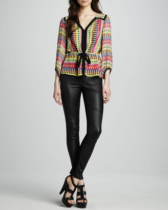 Nanette Lepore Candy Apple Skinny Leather Pants