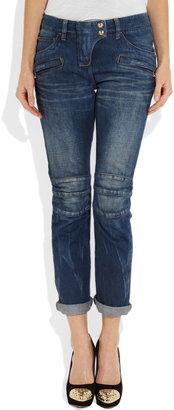 Balmain Mid-rise motocross-style skinny jeans