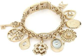 AK Anne Klein Women's 10-8096CHRM Swarovski Crystal Accented Gold-Tone Charm Bracelet Watch