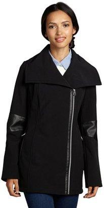 Calvin Klein black softshell faux leather trimmed asymmetrical zip coat