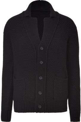 Jil Sander Black Shawl Collar Wool Cardigan