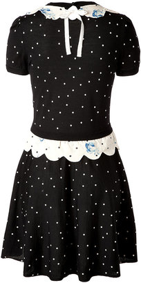 RED Valentino Wool Polka Dot Dress with Floral Print Trim