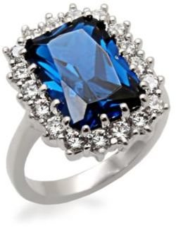 Michela Rectangle Faux Sapphire Ring with Cubic Zirconia