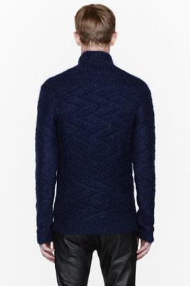 Balmain Navy blue mohair fisherman's sweater