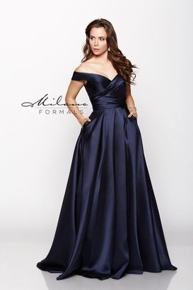 Milano Formals - Off Shoulder Ruched Bodice Long A-line Dress E2046 $248 thestylecure.com