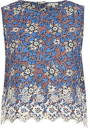 River Island Womens Blue floral embroidered hem crop top