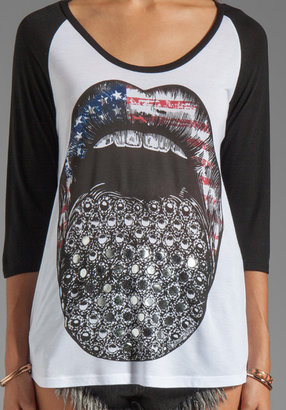 Lauren Moshi Frankie Color Flag Diamond Tongue Baseball Tee in White/Black